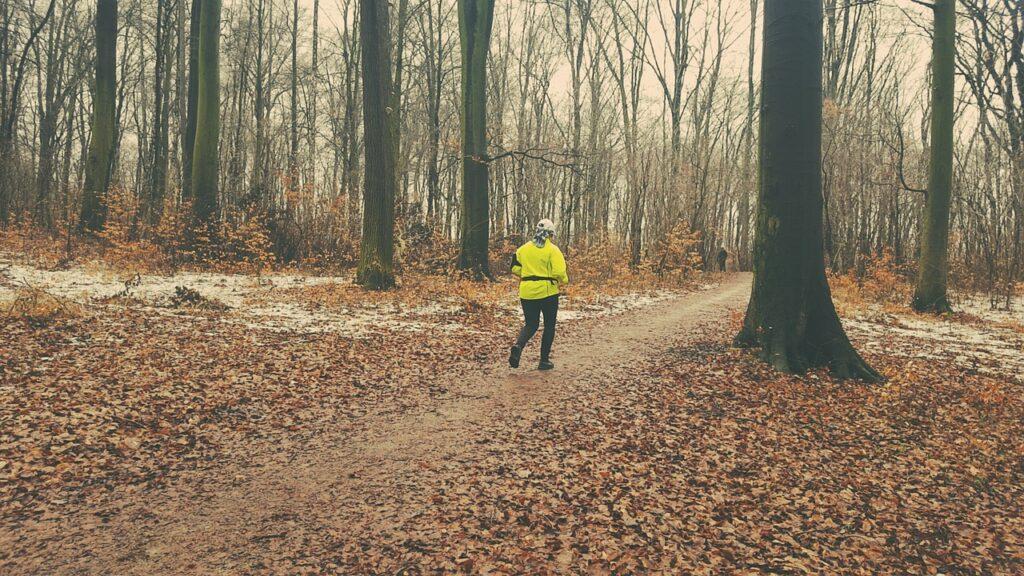 bieganie w lesie jesienią